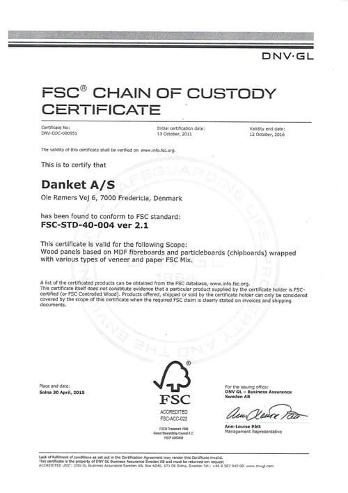 FSC 2015 certifikat